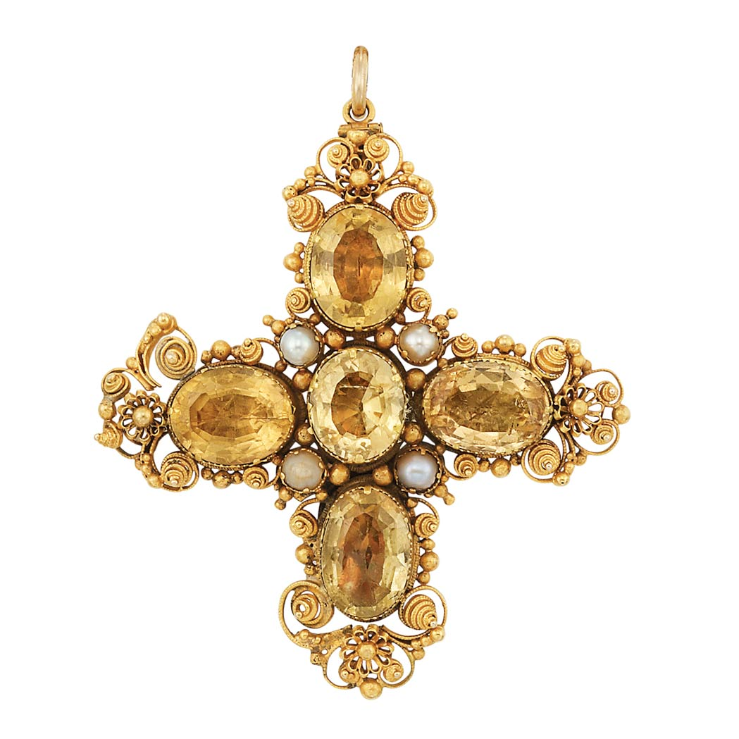 Lot image - Antique Gold, Foiled-Back Topaz and Split Pearl Cross Pendant-Brooch