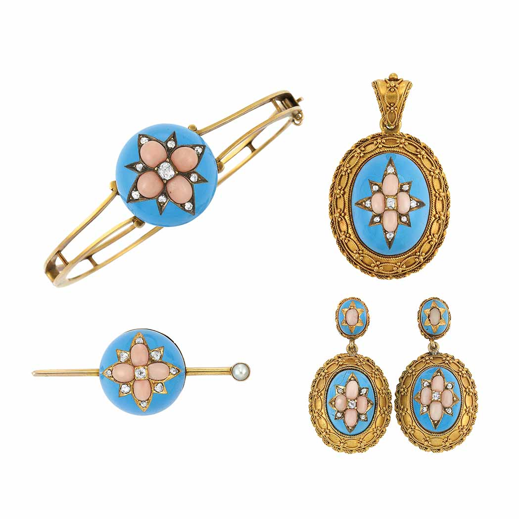 Lot image - Group of Antique Gold, Turquoise Enamel, Angel Skin Coral and Diamond Jewelry