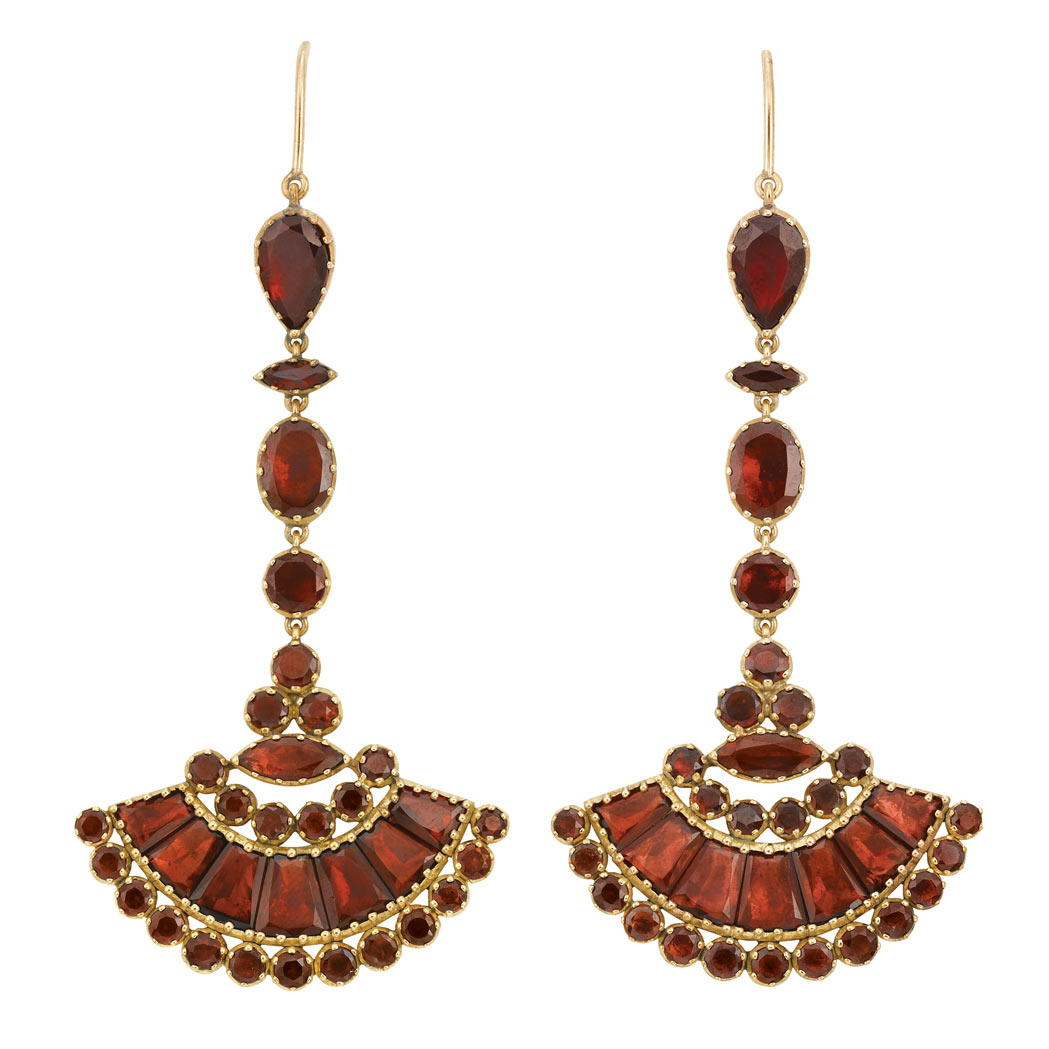Lot image - Pair of Antique Gold and Foiled-Back Garnet Pendant-Earrings