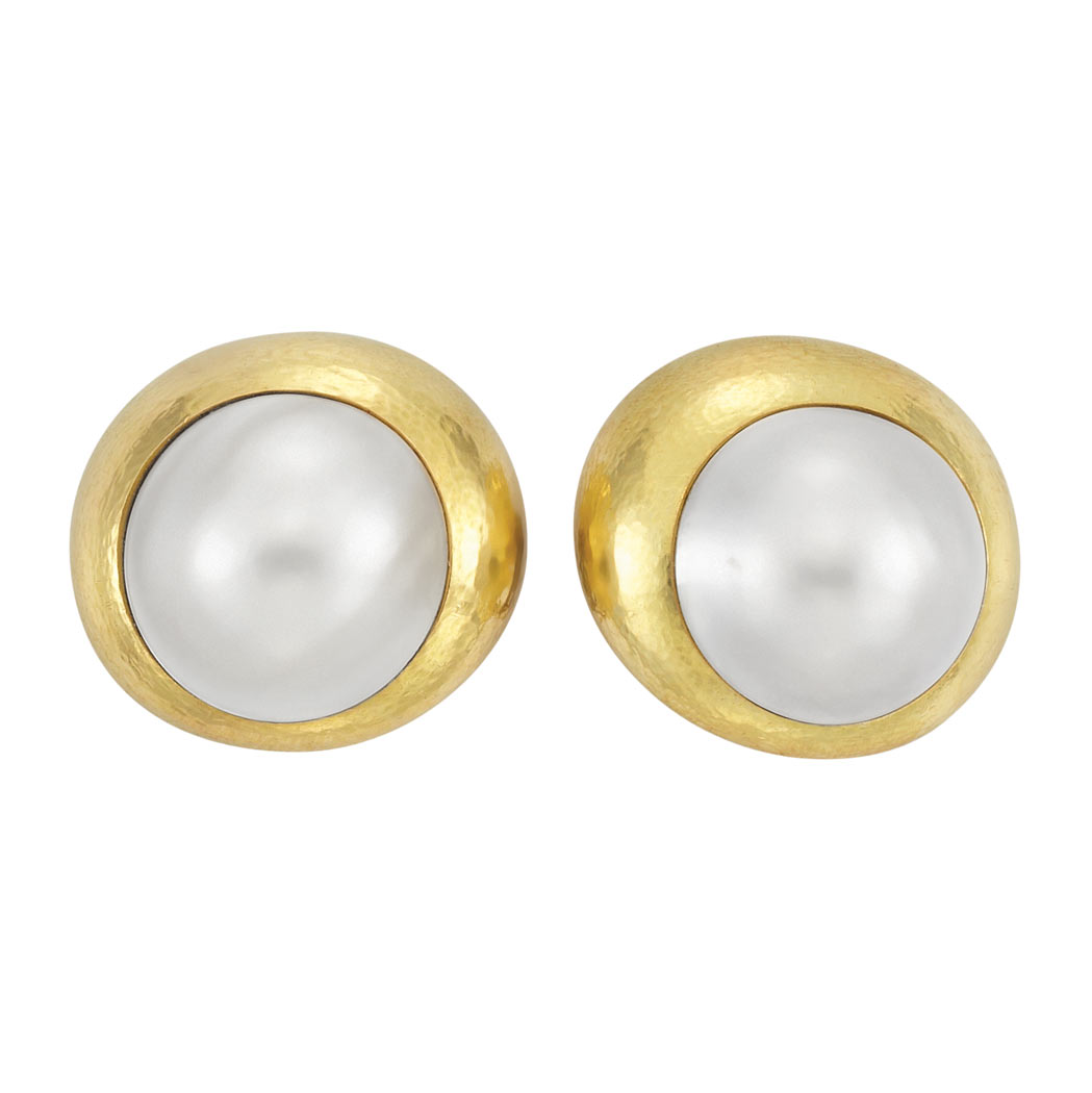 Lot image - Pair of Hammered Gold and Mabe Pearl Earclips, David Webb