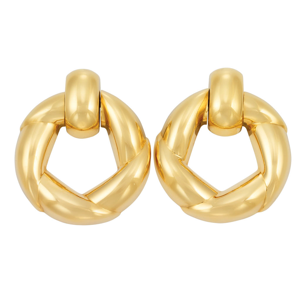 Lot image - Pair of Gold Hoop Earclips, Cartier
