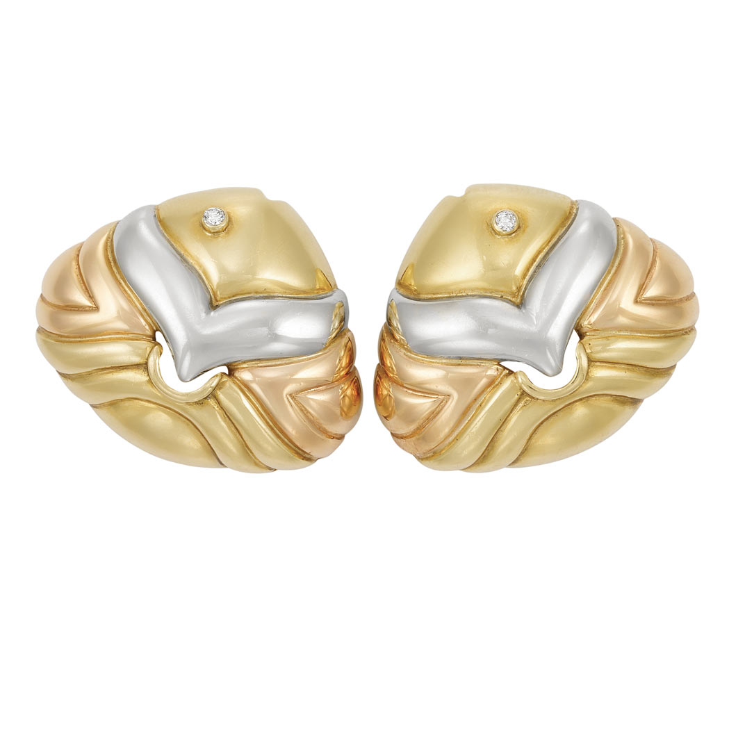 Lot image - Pair of Tricolor Gold and Diamond Fish Earclips, Bulgari