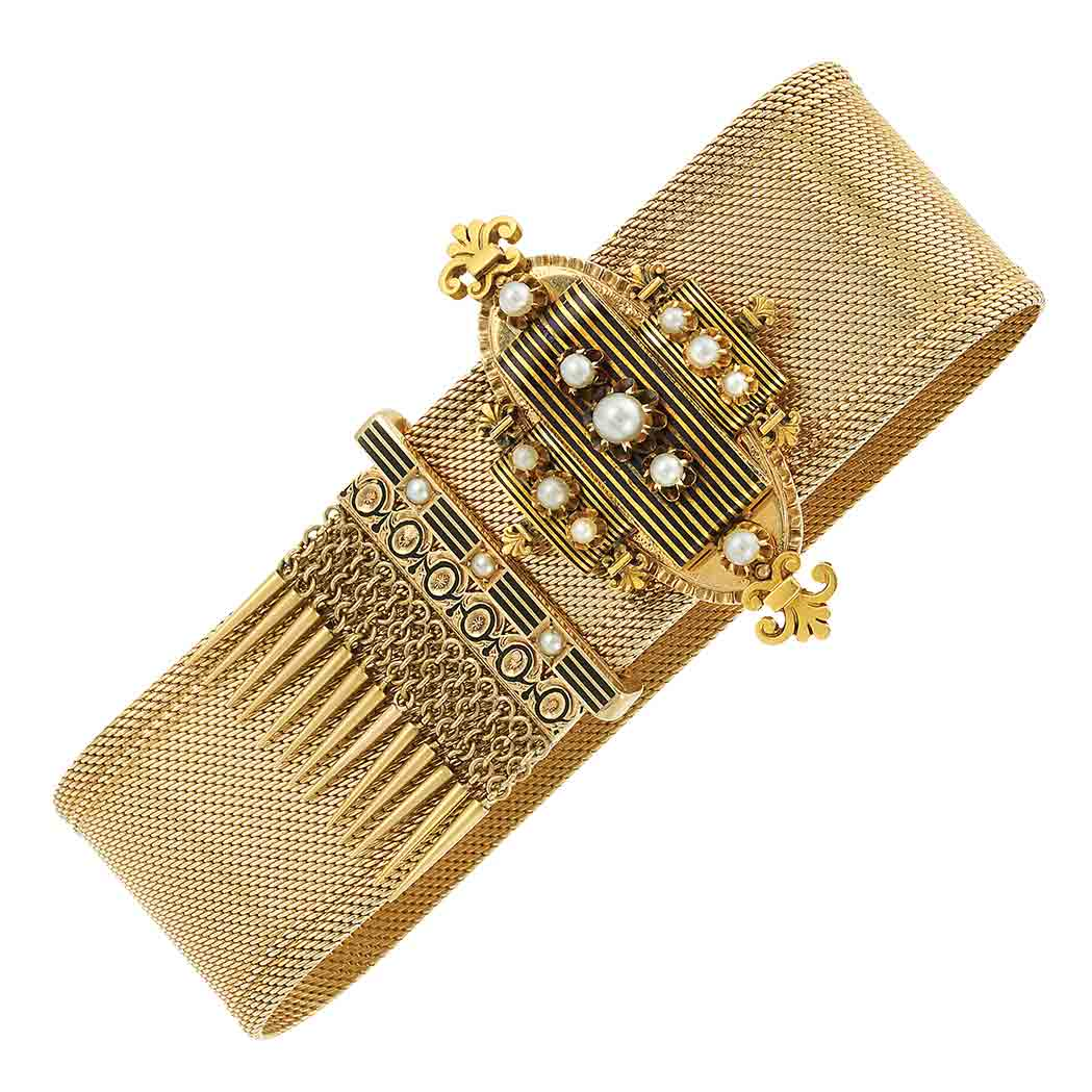 Lot image - Antique Gold, Pearl and Black Enamel Slide Fringe Bracelet
