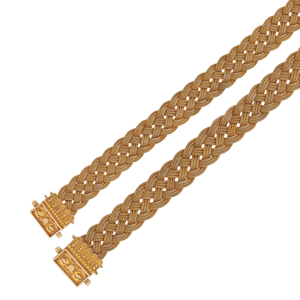 Lot image - Pair of Antique Braided Gold Mesh Bracelets