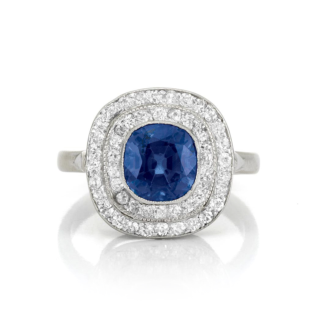 Lot image - Sapphire and Diamond Ring