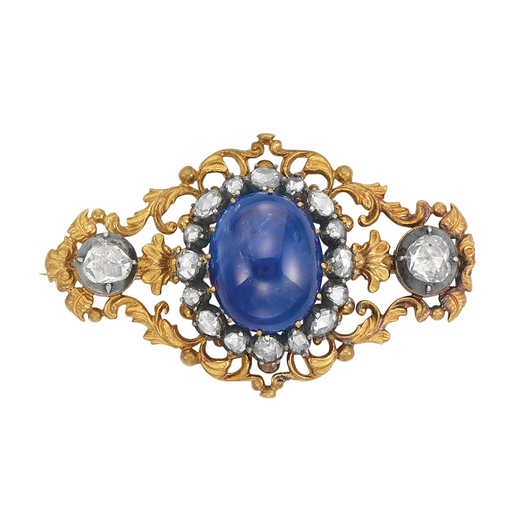 Lot image - Antique Gold, Silver, Cabochon Sapphire and Diamond Brooch