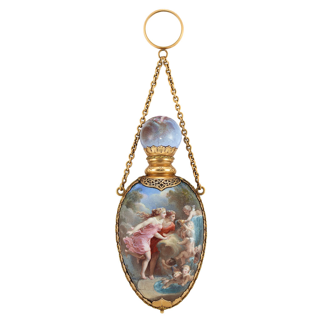 Lot image - Antique Gold and Enamel Scent Bottle with Gold Carrying Chain