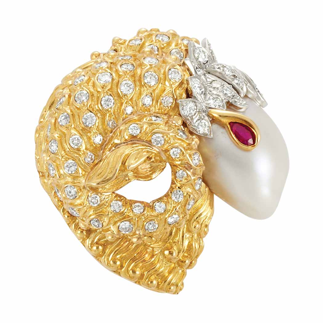 Lot image - Gold, Platinum, Diamond, Semi-Baroque Cultured Pearl and Ruby Rams Head Brooch, David Webb