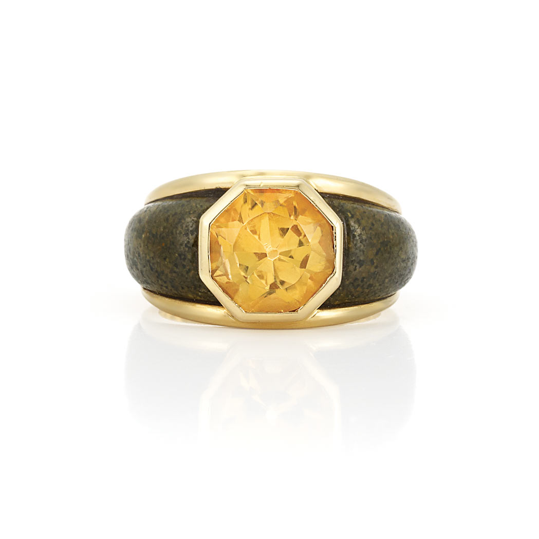 Lot image - Gold, Citrine and Wood Ring, Rene Boivin, France
