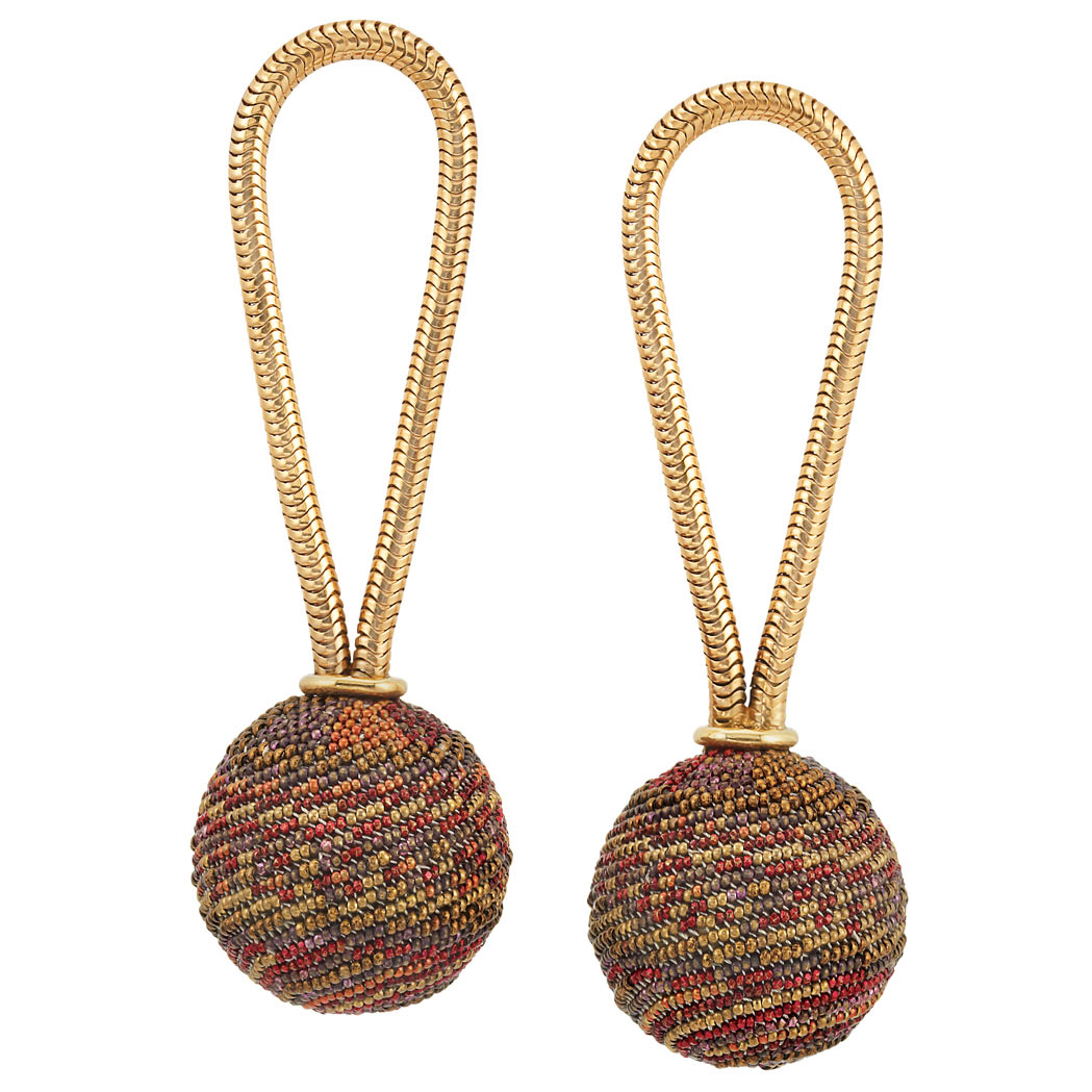 Lot image - Pair of Gold and Colored Bead Pendant-Earrings