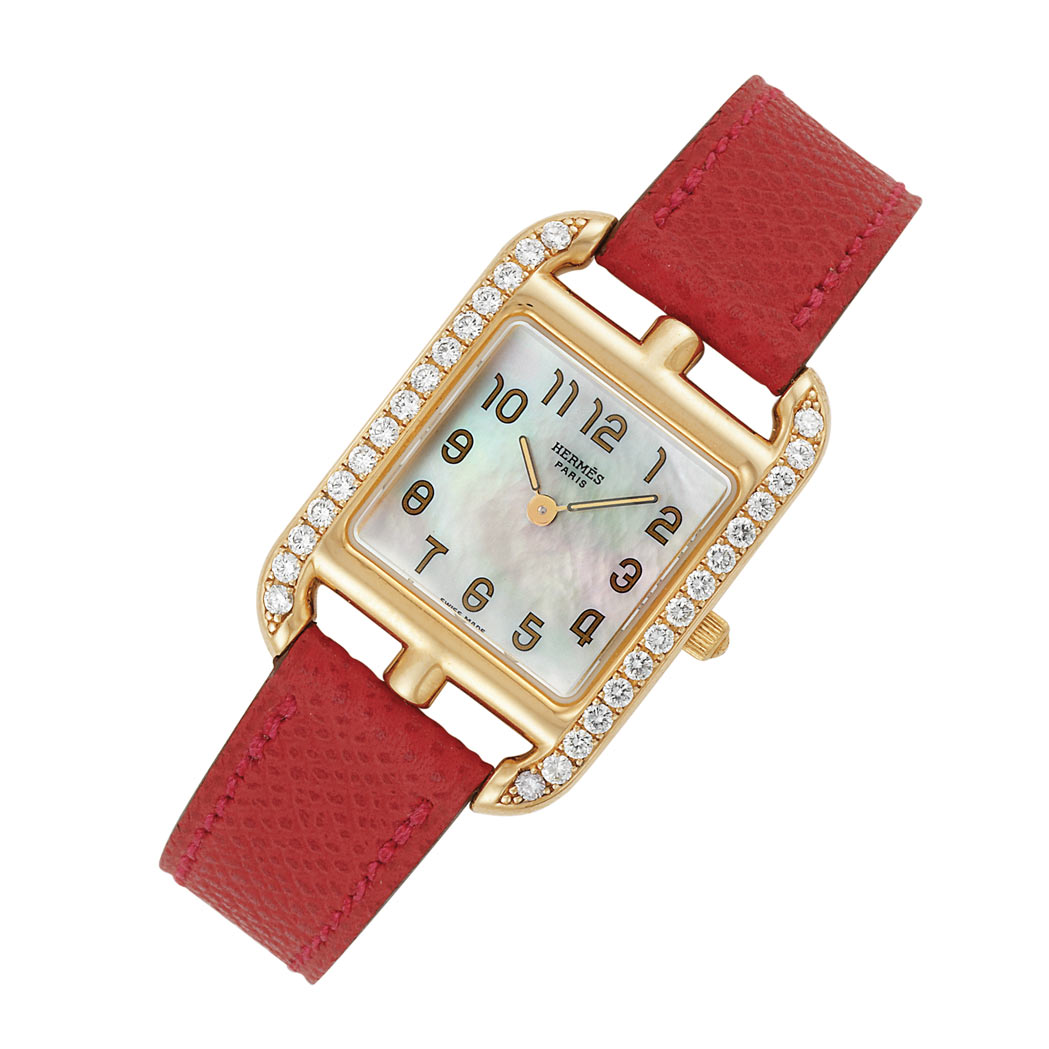 Lot image - Ladys Gold, Diamond and Mother-of-Pearl Cape Cod Wristwatch, Hermes