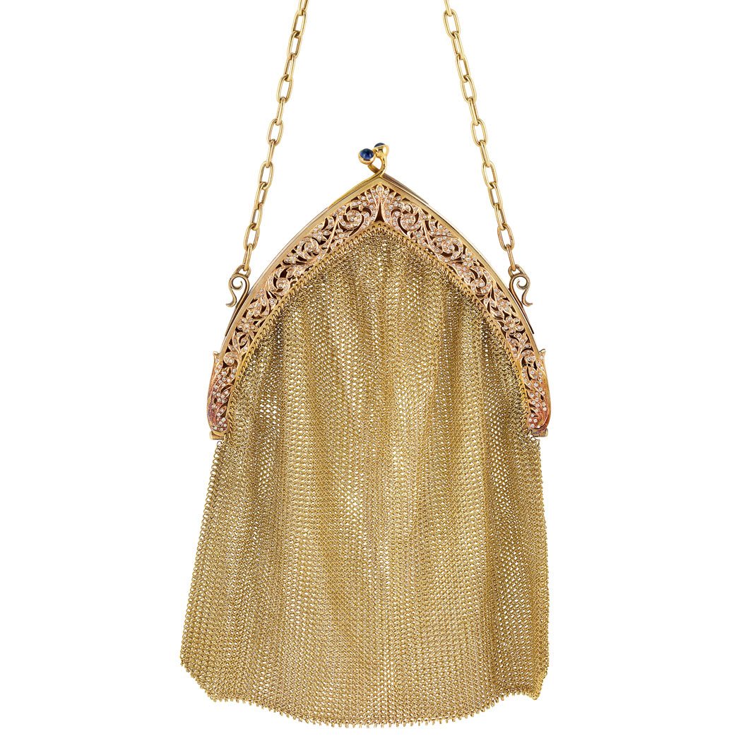 Lot image - Antique Gold and Diamond Mesh Purse with Carrying Chain