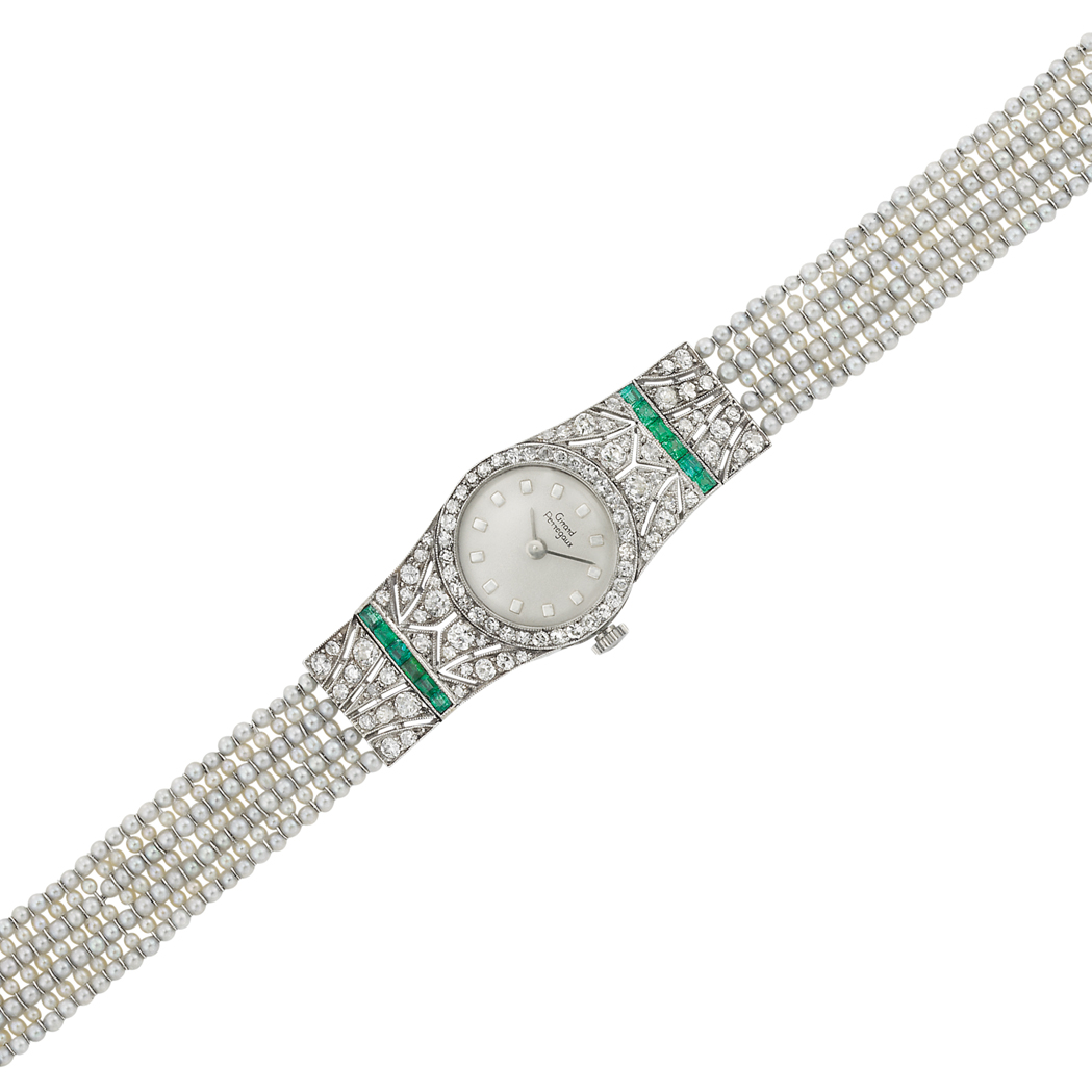 Lot image - Edwardian Platinum, Diamond, Emerald and Seed Pearl Wristwatch, Girard Perregaux