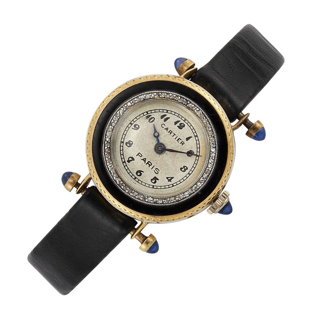 Lot image - Ladys Gold, Enamel and Diamond Wristwatch, Cartier, Paris