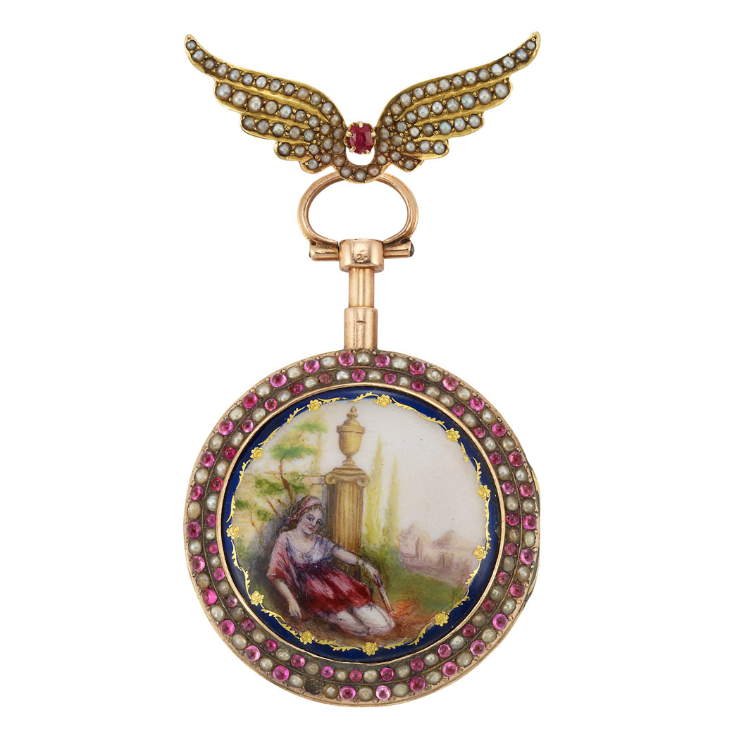 Lot image - Antique Gold, Diamond, Ruby, Enamel and Split Pearl Lapel Pendant-Watch