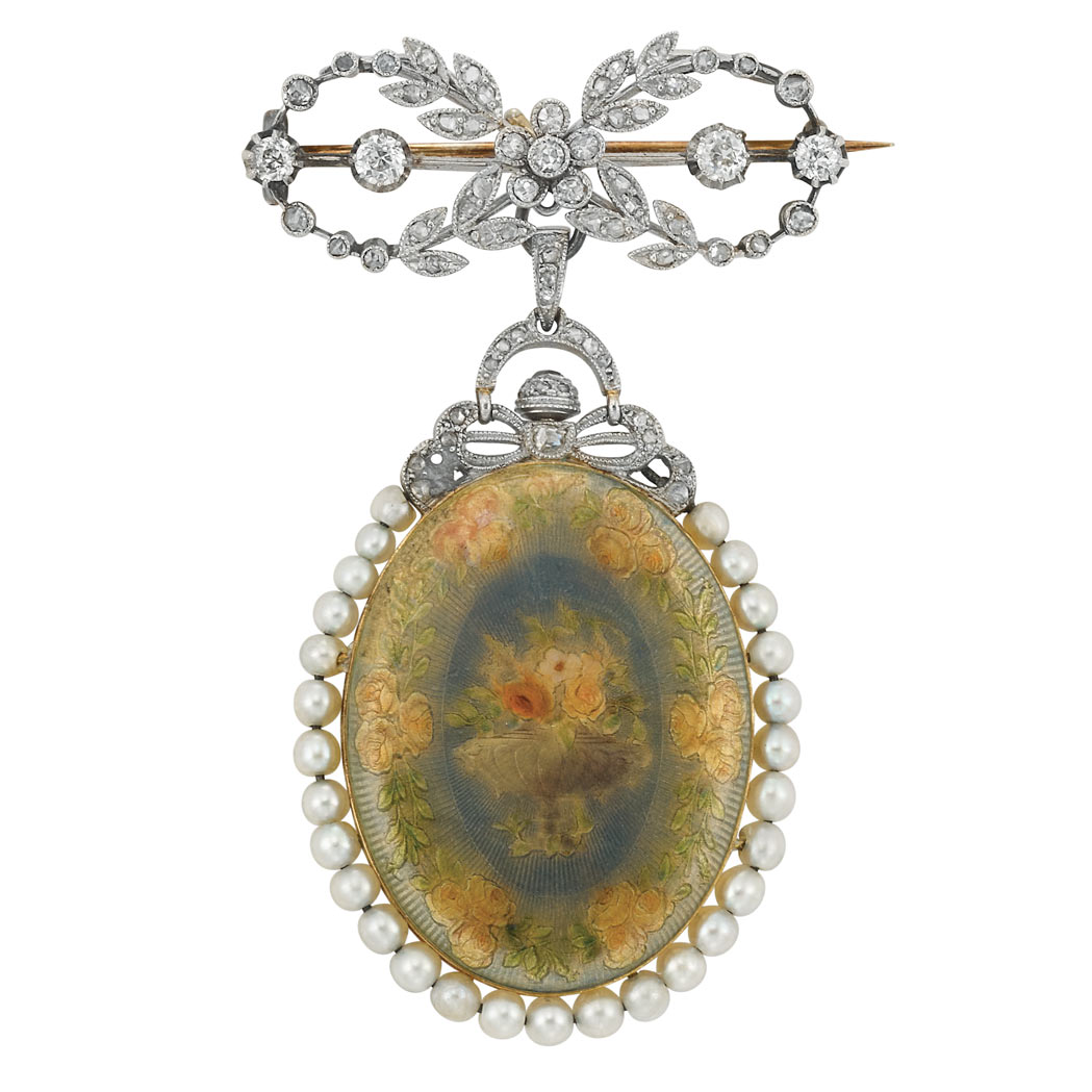 Lot image - Belle Epoque Platinum, Gold, Guilloche Enamel, Pearl and Diamond Lapel Pendant-Watch, France