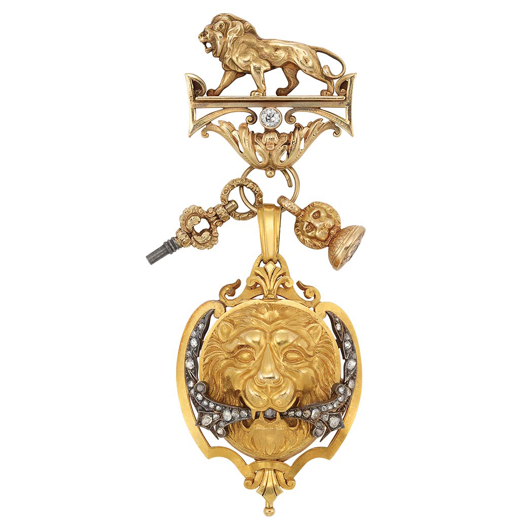 Lot image - Antique Gold, Silver and Diamond Lapel Pendant-Watch