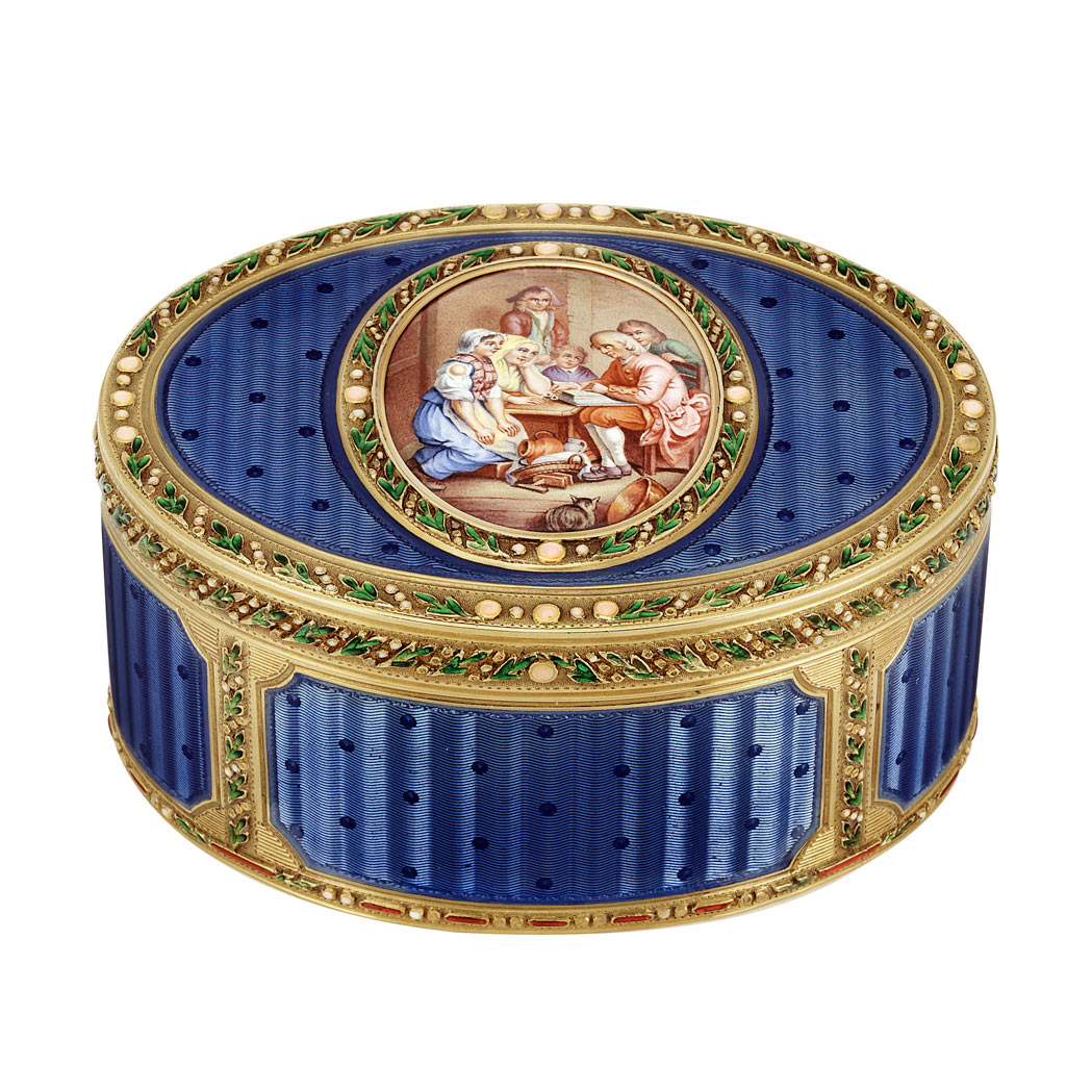 Lot image - Antique Gold and Enamel Snuff Box, France
