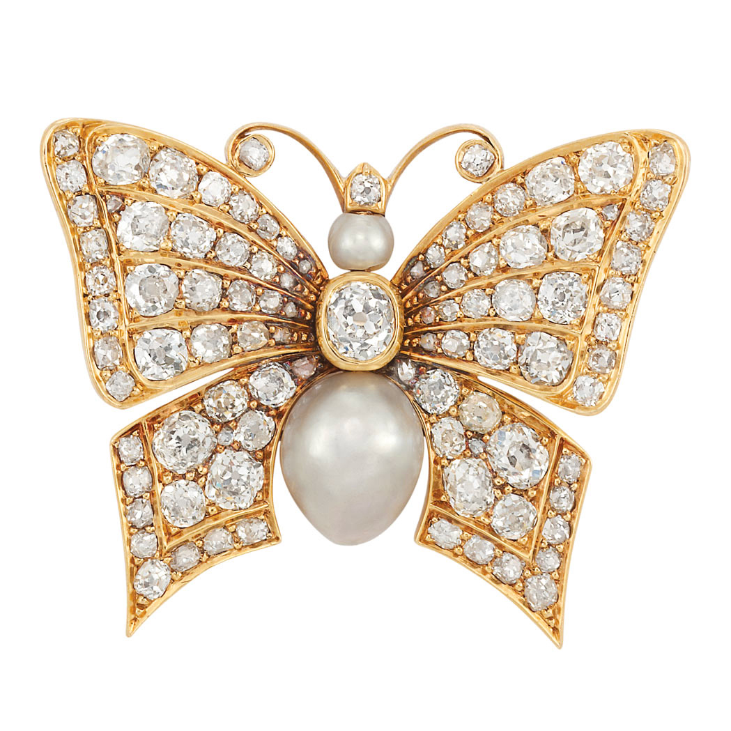 Lot image - Antique Gold, Diamond and Natural Pearl Butterfly Brooch