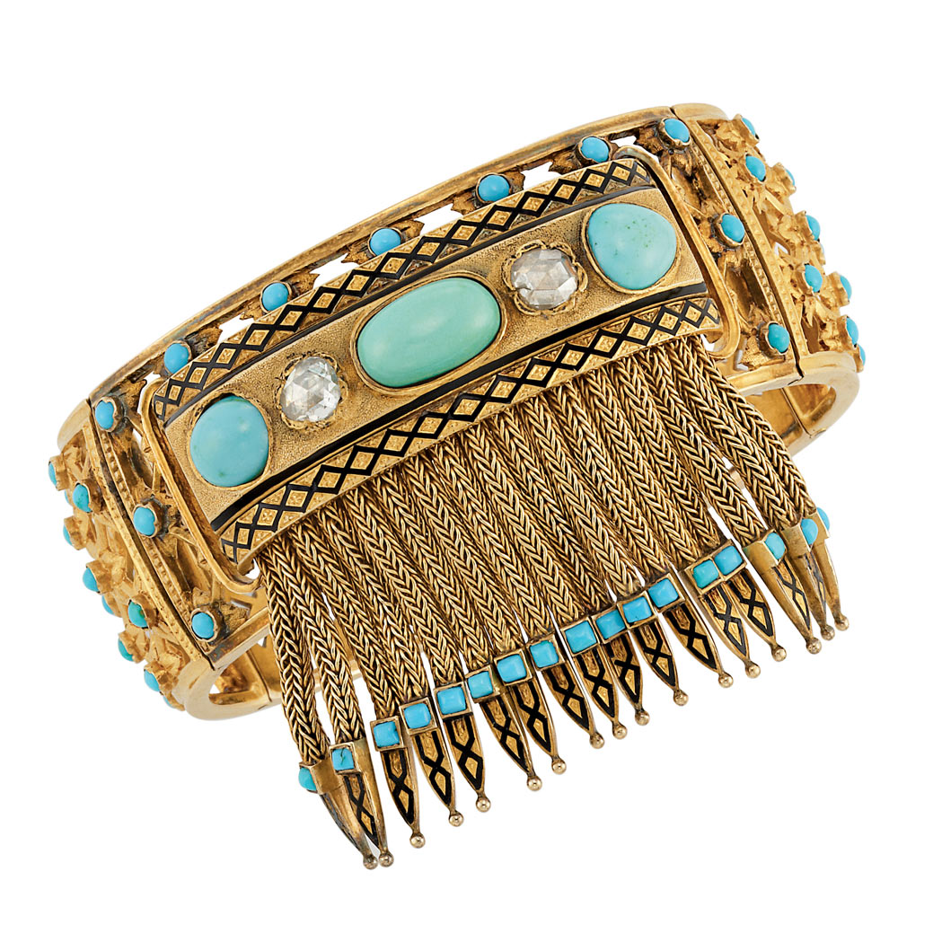 Lot image - Antique Gold, Turquoise, Diamond and Black Enamel Fringe Cuff Bangle Bracelet, France