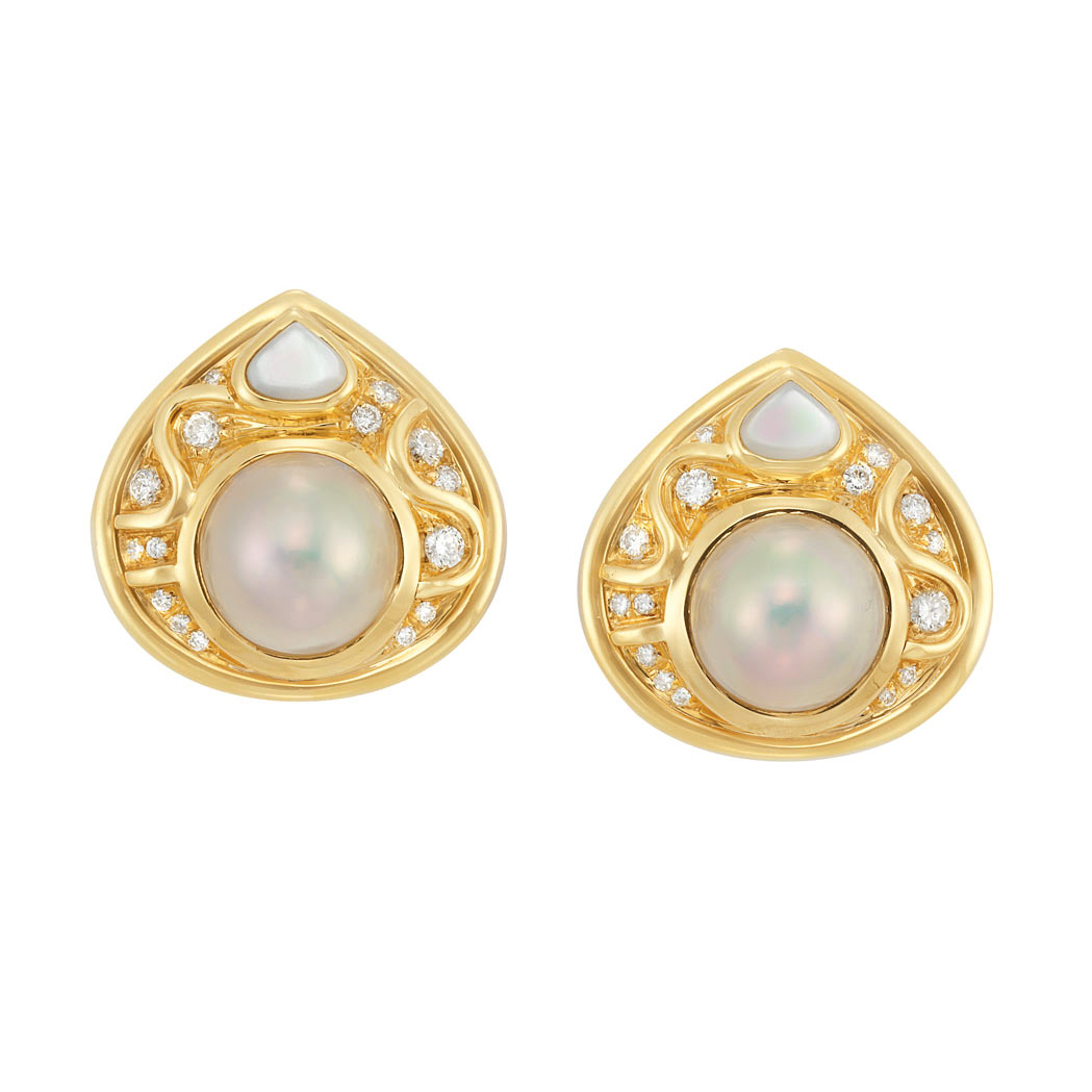 Lot image - Pair of Gold, Mabe Pearl, Diamond and Mother-of-Pearl Earclips, Marina B.