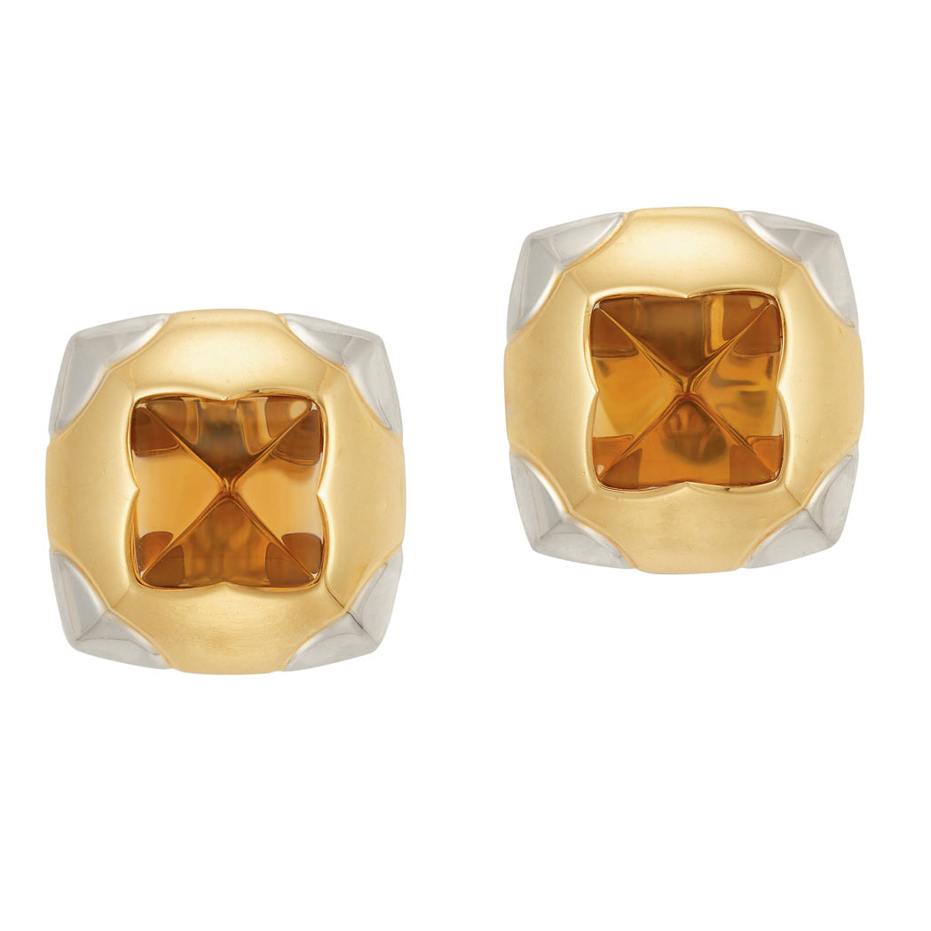 Lot image - Pair of Two-Color Gold and Citrine Earclips, Bulgari