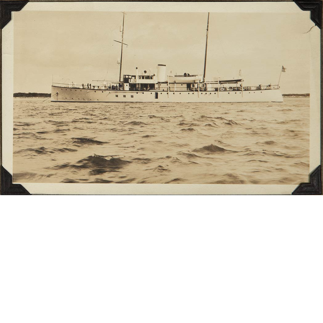 "Lot image - [TRAVEL PHOTOGRAPHY]  Photograph album hand-titled ""Southern Cruise of the Yacht Ara, Feburary 1925 ... 1930."""
