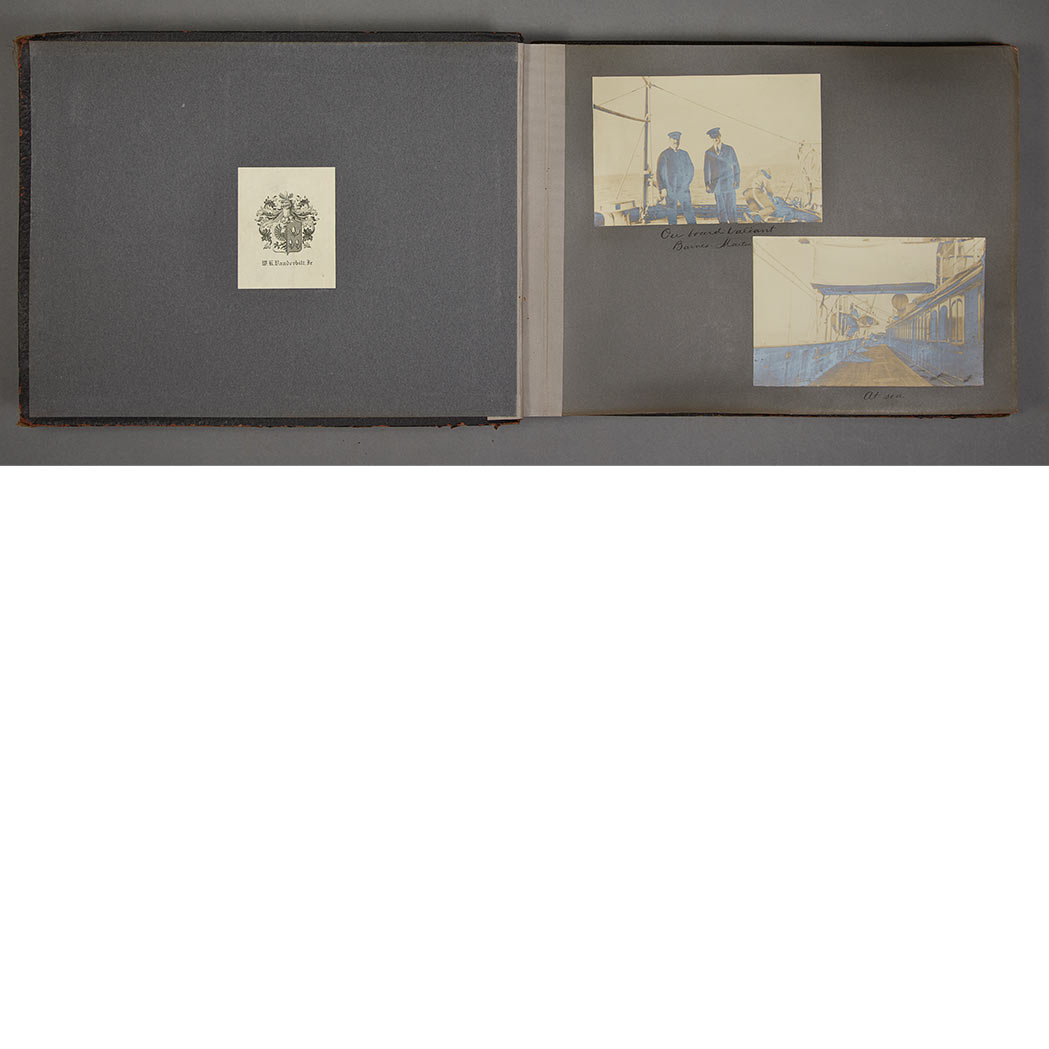 "Lot image - [TRAVEL PHOTOGRAPHY]  Album stamped ""Souvenir of Trip on Board Valiant throught the Mediterranean, January and February 1907."""