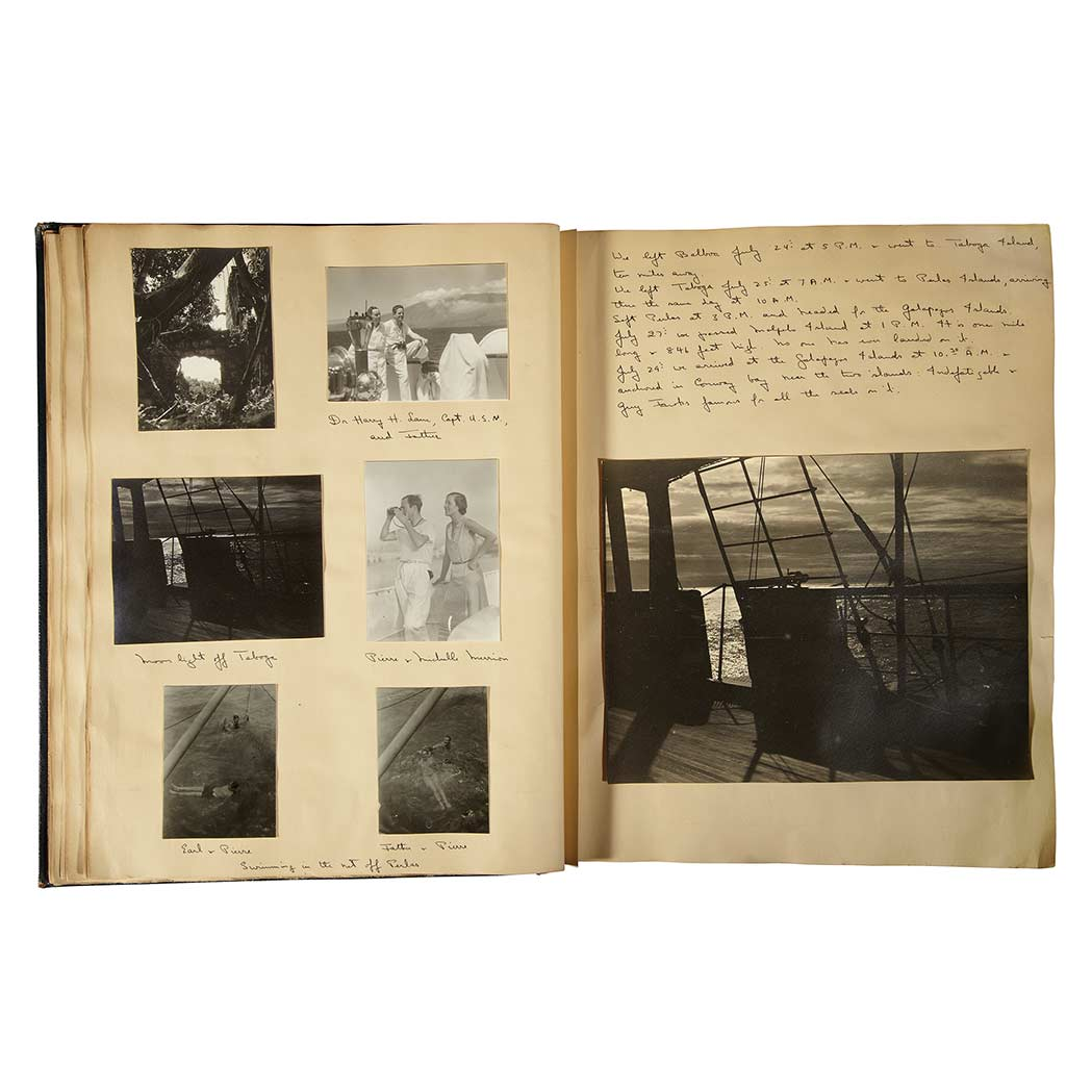 "Lot image - [TRAVEL PHOTOGRAPHY]  An album of photographs hand-titled ""Alva - Cruise through the South Seas 1931."""