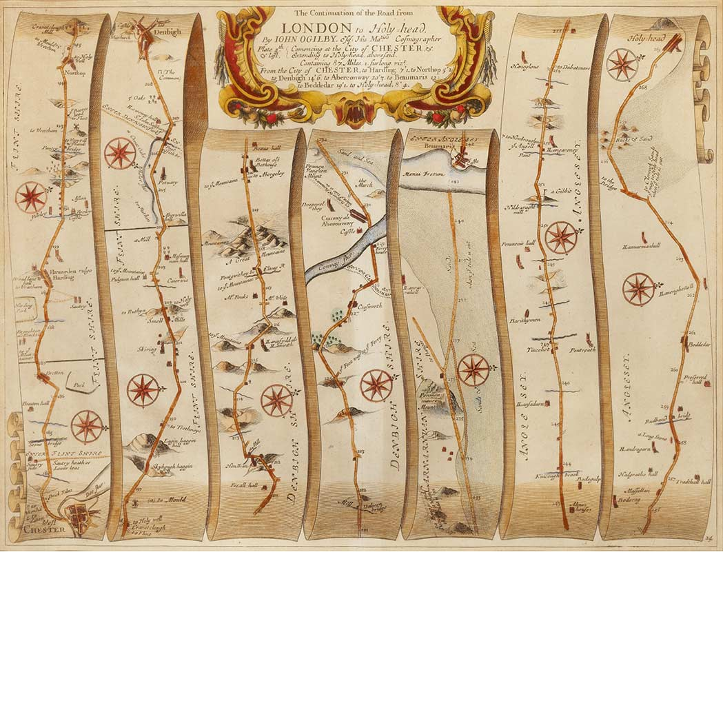 Lot image - [MAPS]  OGILBY, JOHN. The Continuation of The Road from London to Holy-Head