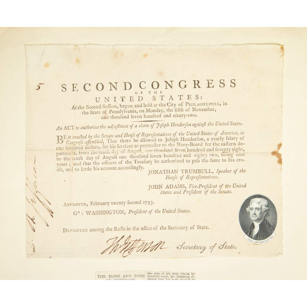 Lot image - JEFFERSON, THOMAS Document Signed as Secretary of State. Philadelphia: 22 February 1793. Printed document being an act from...