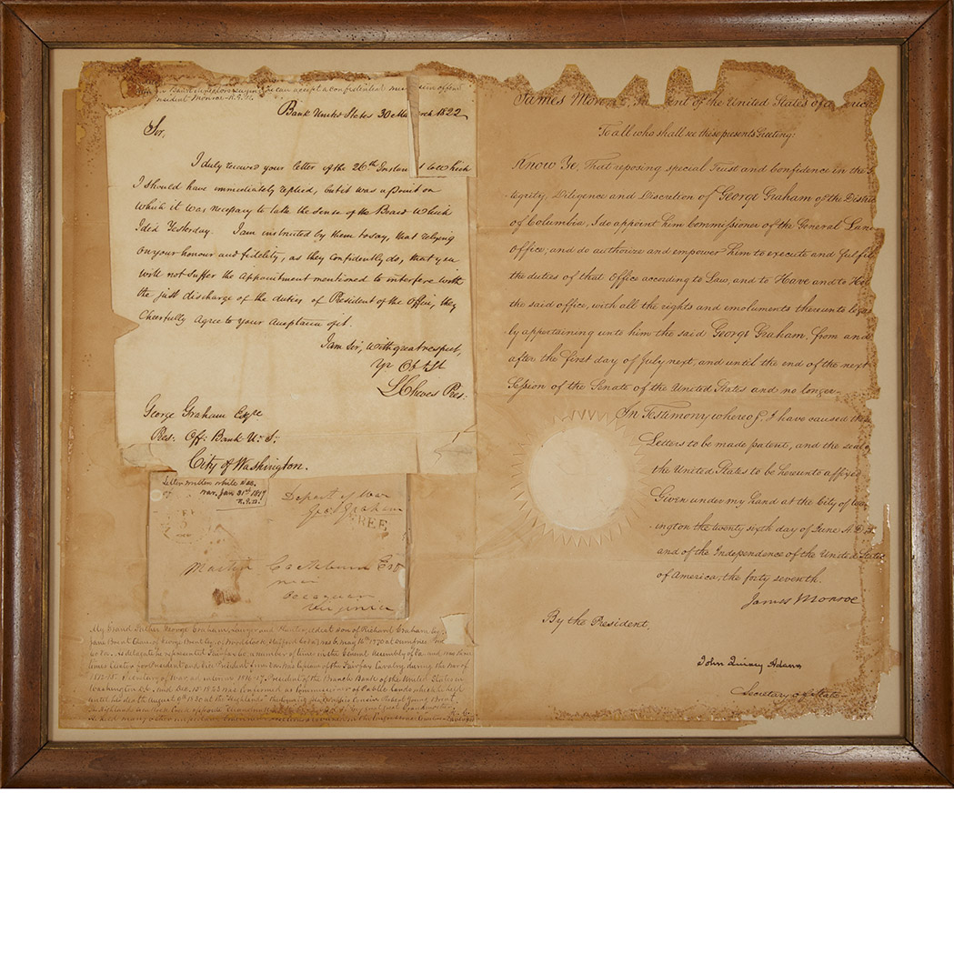 Lot image - MONROE, JAMES and ADAMS, JOHN QUINCY  Document signed appointing George Graham Commissioner of the General Land Office