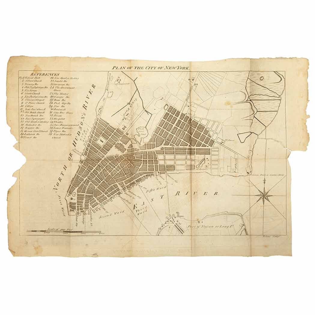 Lot image - [NEW YORK]  DUNCAN WILLIAM. The New-York Directory, and Register, for the Year 1794. Illustrated with a new and accurate Plan of the City and Part of Long-Island, exactly laid down agreeably to the latest Survey