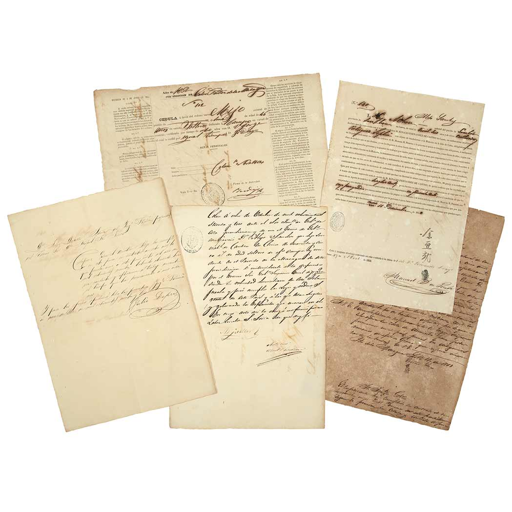 Lot image - [CUBA--CHINESE LABOR]  Group of six documents pertaining to a Chinese immigrant