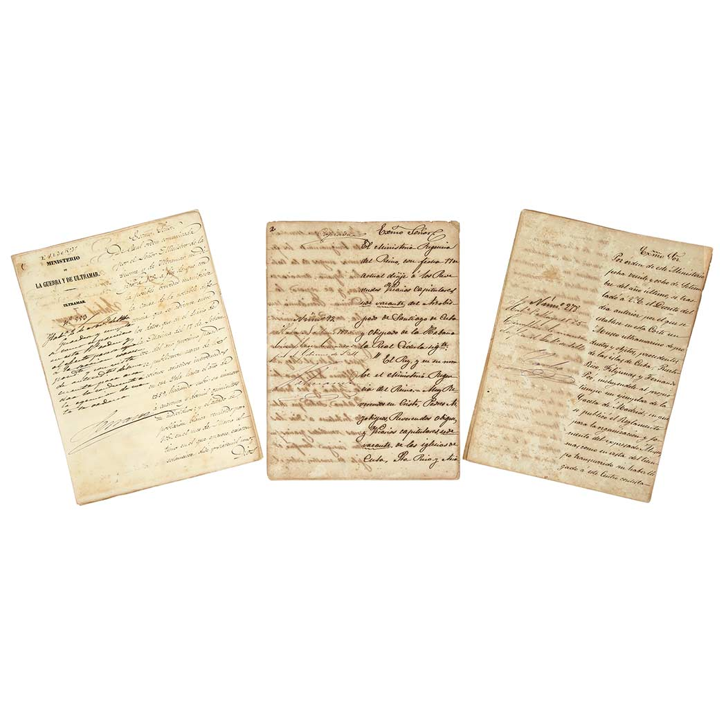 Lot image - [CUBA]  Documents relating to the Captaincy-General of Cuba, 1835-1875