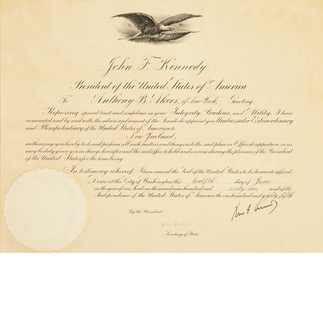 Lot image - KENNEDY, JOHN FITZGERALD  Document signed appointing Anthony Akers Ambassador to New Zealand