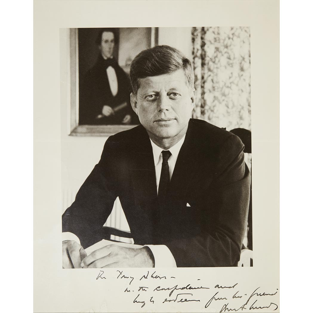 Lot image - KENNEDY, JOHN FITZGERALD  Inscribed photograph and typed letter signed to ambassador Anthony Akers