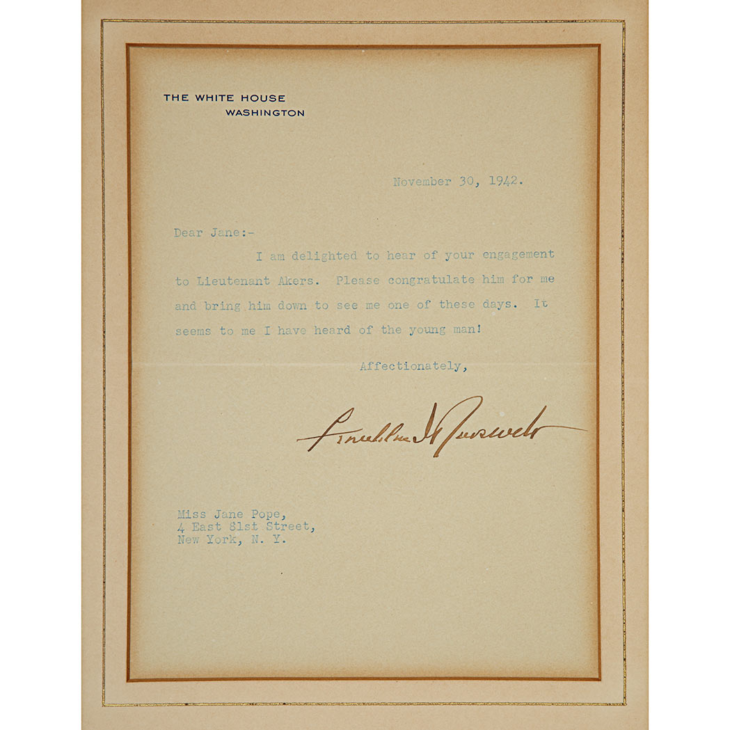 Lot image - ROOSEVELT, FRANKLIN DELANO  Typed Letter Signed