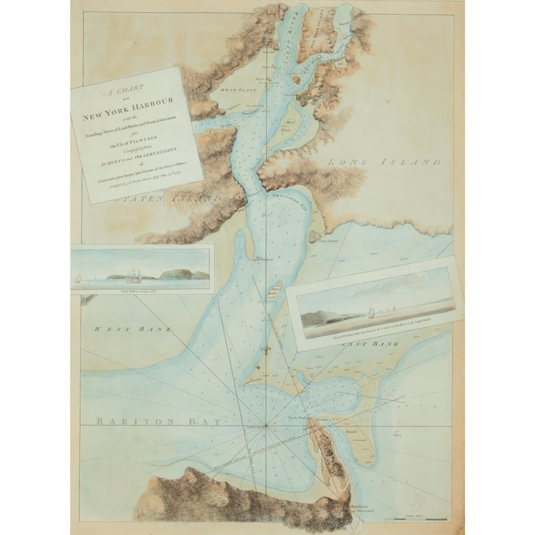 Lot image - [MAPS--NEW YORK]  DES BARRES, JOSEPH. F. WALLET. A Chart Of New York Harbour with the Soundings Views of Land Marks and Nautical directions for the use of Pilotage