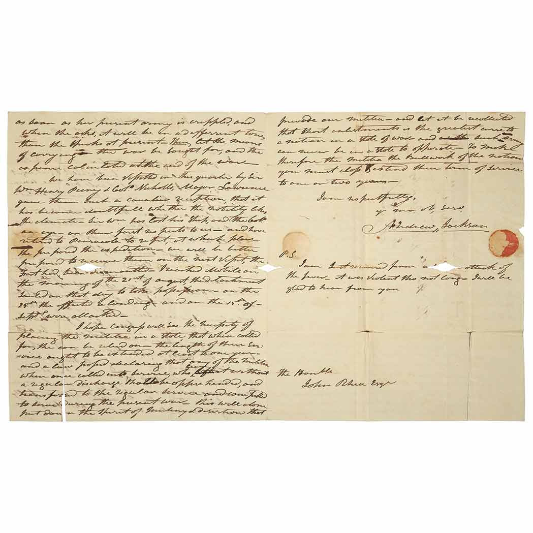 Lot image - JACKSON, ANDREW  Autograph letter signed with strong wartime content