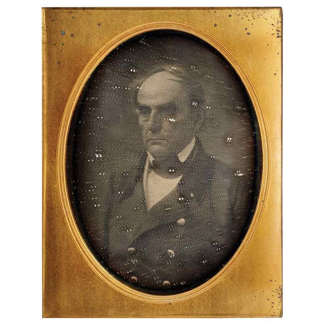 Lot image - [BRADY, MATHEW B.]  Full-plate daguerreotype portrait of Senator Daniel Webster, head-and-shoulders, facing slightly to his right
