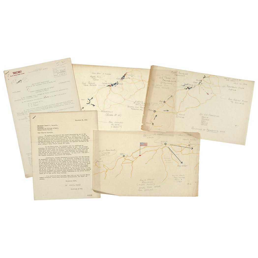 Lot image - [WORLD WAR II - PATTON, GEORGE]  An interesting group of manuscript invasion maps and typed documents relating to Patton and the North African Campaign
