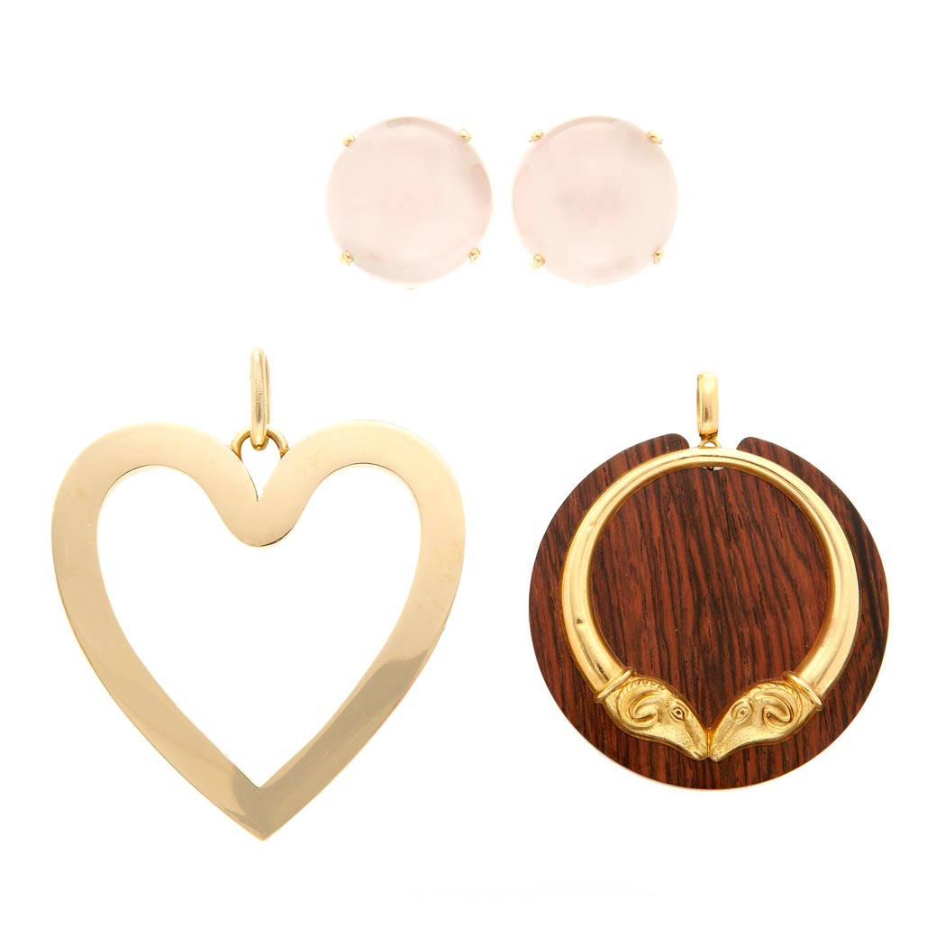 Lot image - Two Gold and Wood Pendants and Pair of Rose Quartz Earclips
