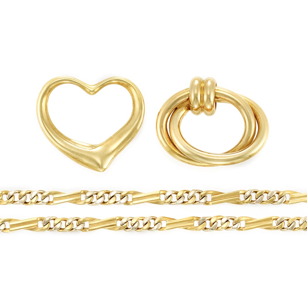 Lot image - Gold Heart Pin, Tiffany & Co., Elsa Peretti, and Gold Chain Necklace and Pin