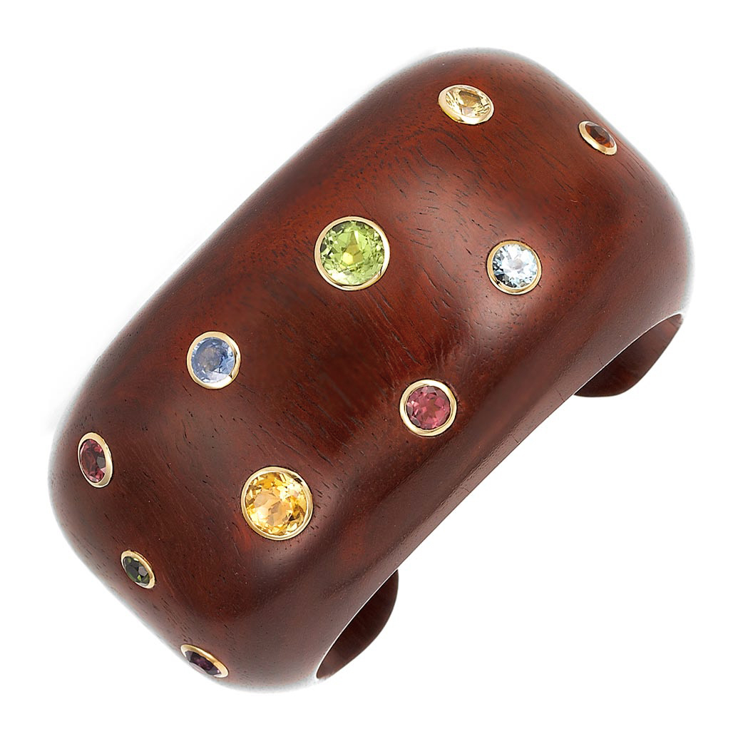 Lot image - Wood, Gold and Gem-Set Cuff Bangle Bracelet, Trianon