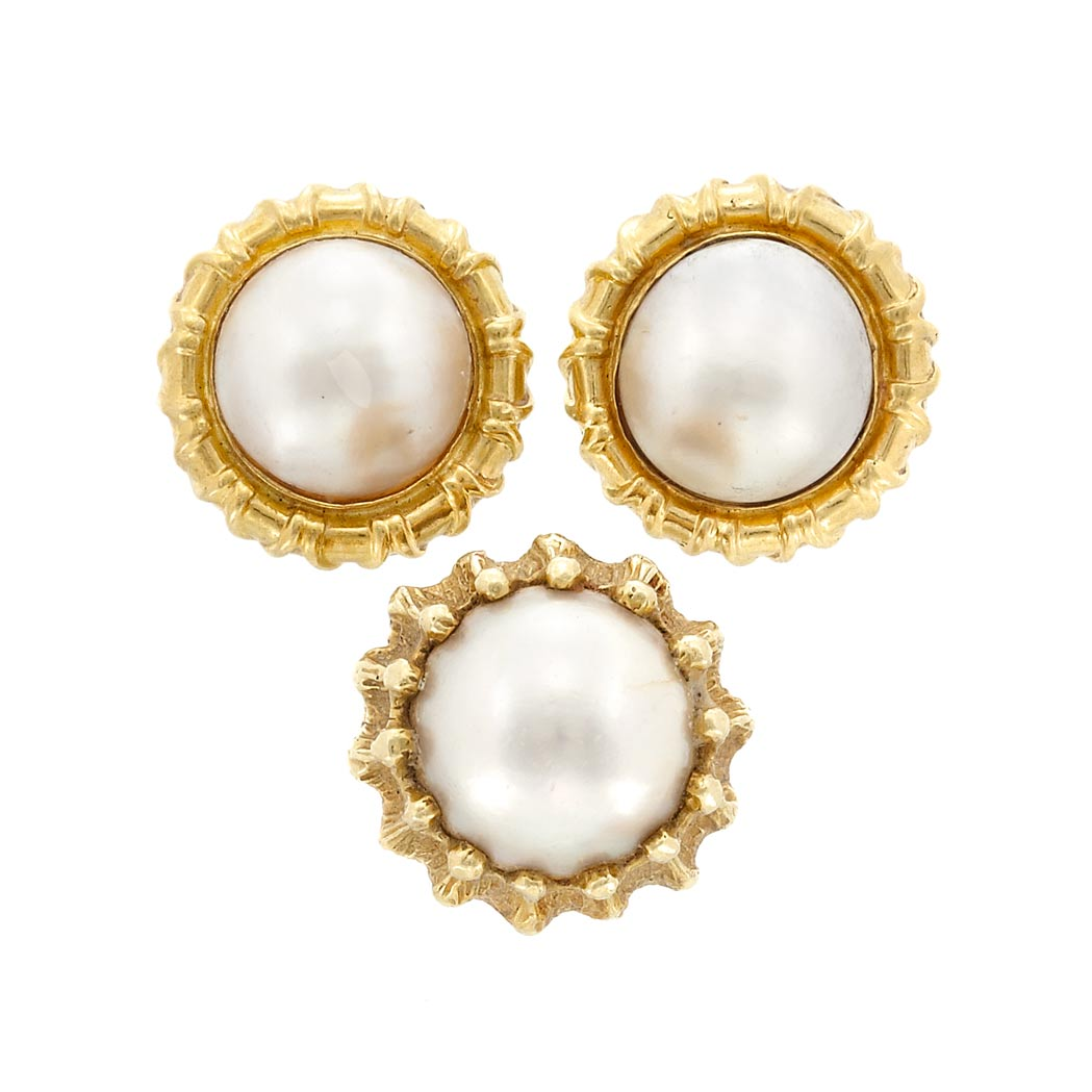 Lot image - Pair of Gold and Mabe Pearl Earrings and Ring
