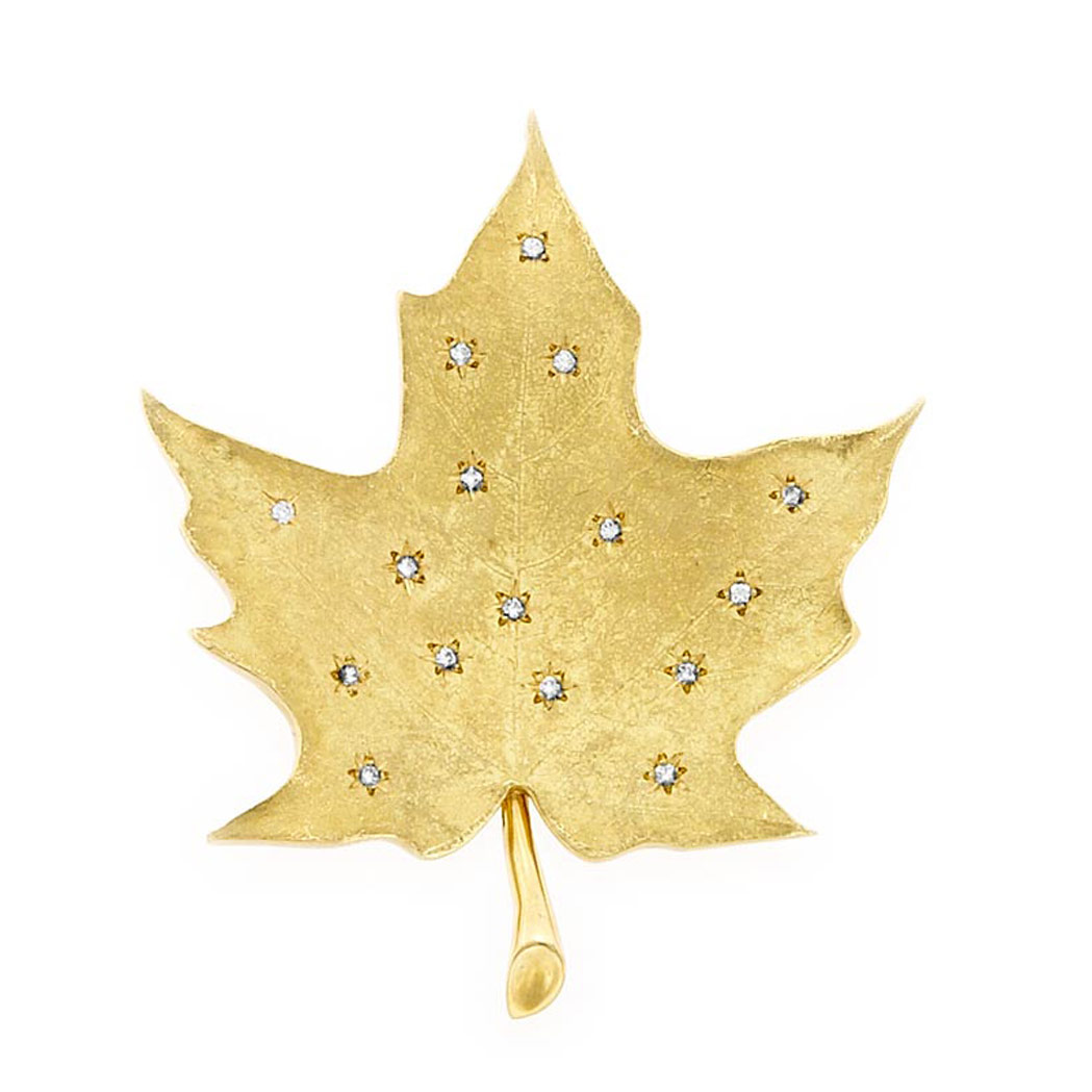 Lot image - Gold and Diamond Leaf Clip-Brooch