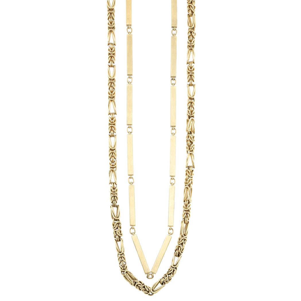 Lot image - Two Gold Chain Necklaces