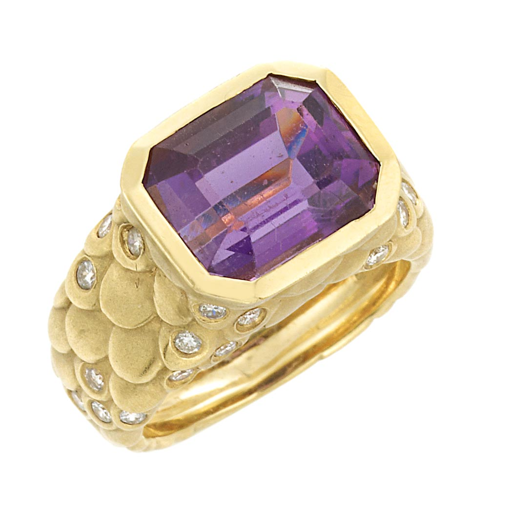 Lot image - Gold, Amethyst and Diamond Ring, Angela Cummings