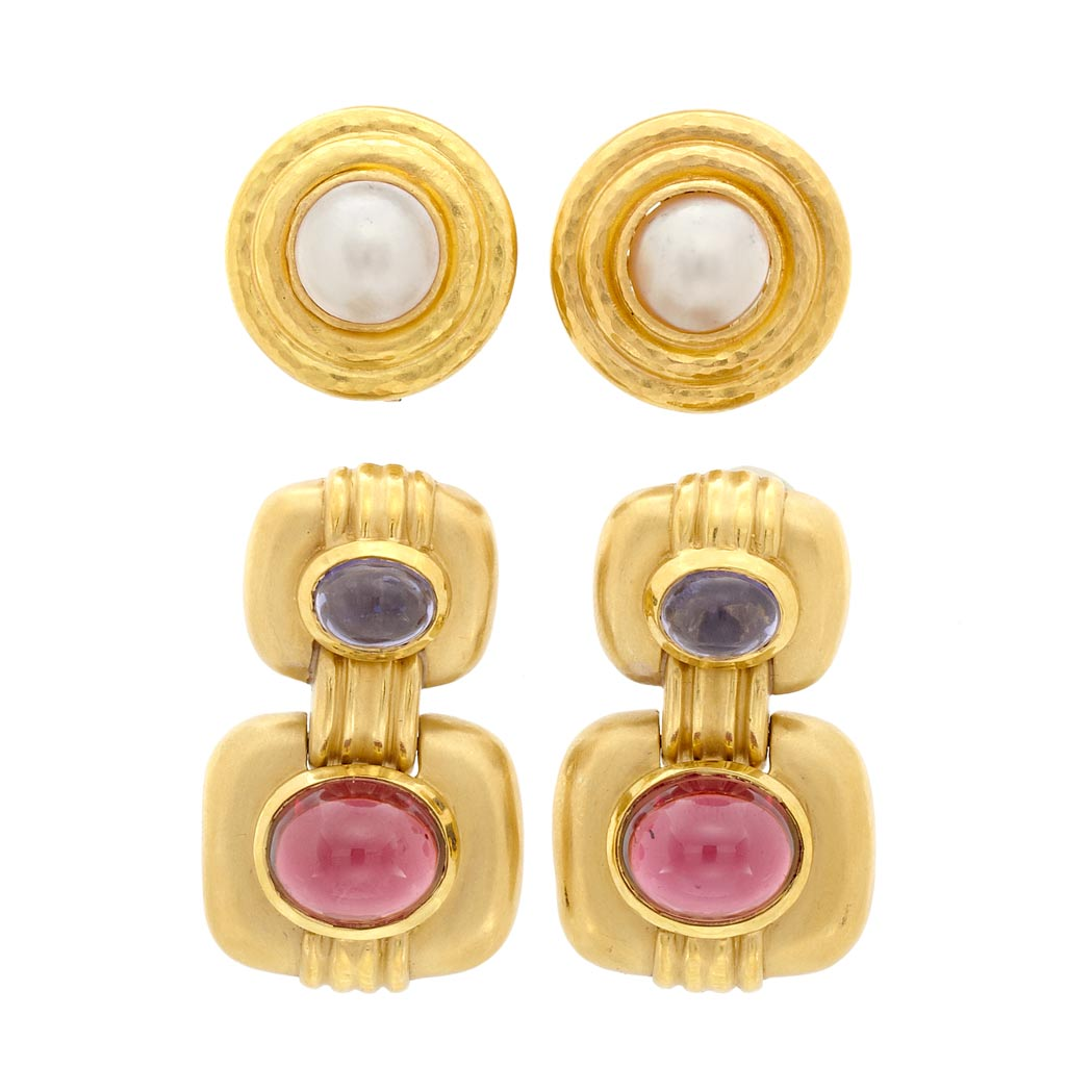 Lot image - Pair of Hammered Gold and Mabe Pearl Earclips, Elizabeth Locke, and Pair of Gold and Cabochon Gem-Set Earrings